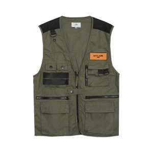 Multiple Pockets Vest Khaki
