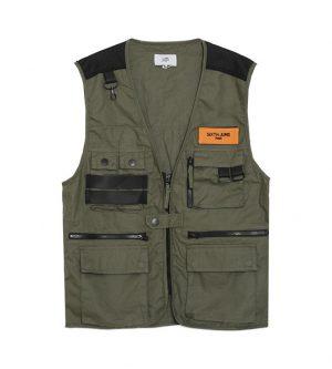 Multiple Pockets Vest Khaki